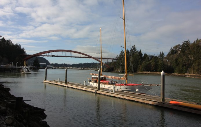 La Conner's Rainbow Bridge, named for its orange hue rather than the usual state bridge green, connects the town to Fidalgo Island.