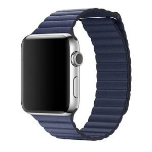 Curea zale din piele Apple Watch midnight blue