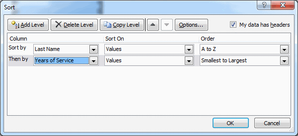 excel custom sort multi column