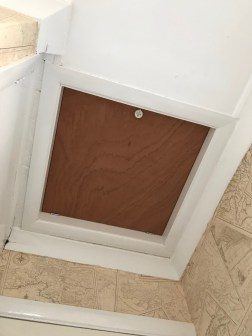 CONVERTED PUSHUP HATCH TO DROP DOWN WITH LOCK, INSULATION, AND DRAUGHT STRIP