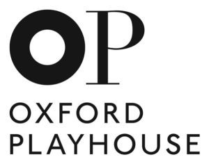 image shows the black text on white logo of a large O and P with Oxford Playhouse written beneath.