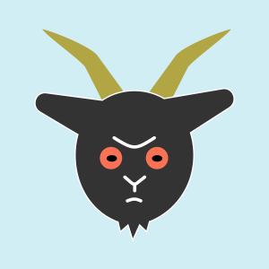 frowny black goat with red eyes