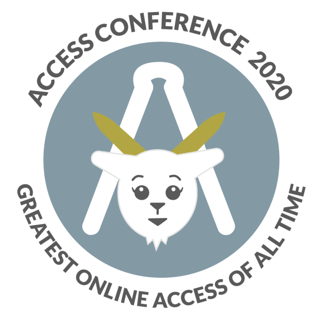 "Access conference circle logo with a goat in front of it with the words ""Access conference 2020 - Greatest Online Access of All Time"" around it"