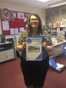 Development Manager Charlotte Morgan receiving the Cynon Valley Museum Access Audit