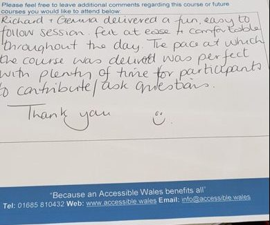 Feedback received from a delegate from Merthyr Council