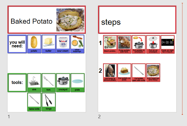 screenshot of recipe template open in PowerPoint