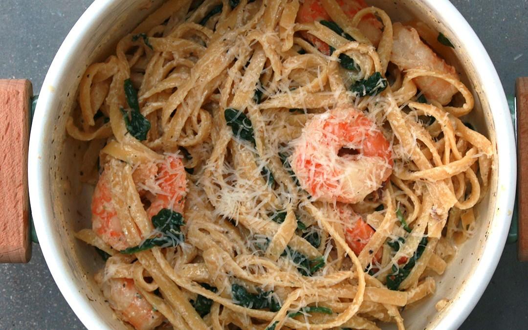 prawn spinach garlic cream pasta