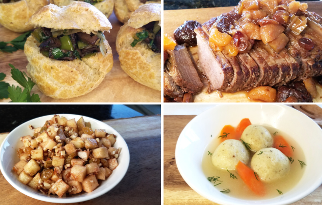 gougeres, fruited brisket, matzo ball soup, and haroset