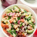 salad with tuna, cucumber, and tomatoes