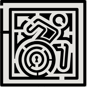 A maze in the wheel of the revised international symbol of access located within a larger mase. A keyhole is in the center of the circle of the wheel.