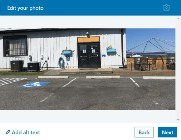 screencapture of the edit your photo modal in Linked In