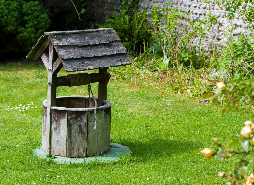 Photo of a wishing well surrounded by grass
