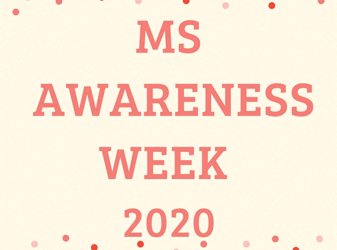 Cream background with ms awareness week 2020 in orange