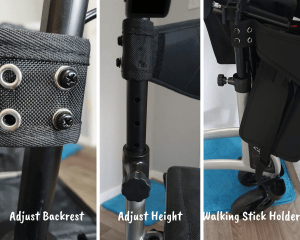 Picture depicting how to adjust the backrest and handles on a Frenetic Wellbeing Rollator including a photo of the walking stick attachment
