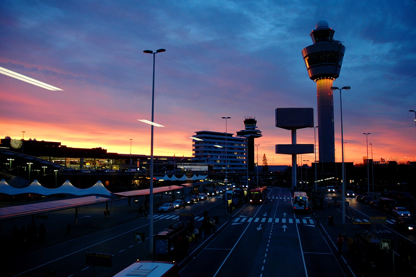 schiphol airport by night