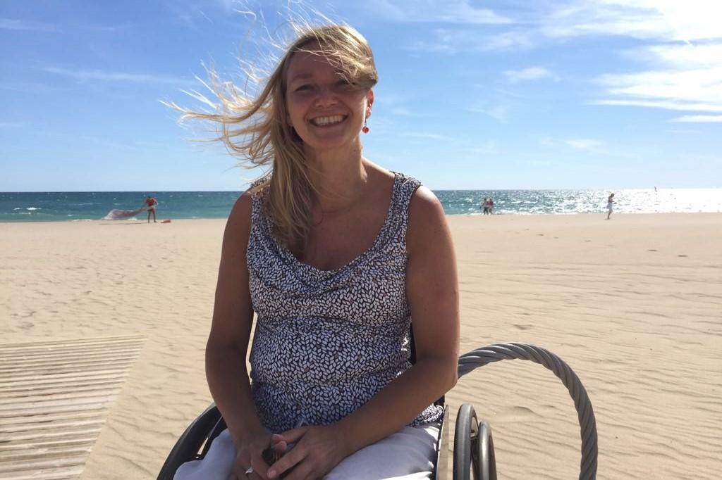 Melanie on the beach in Spain