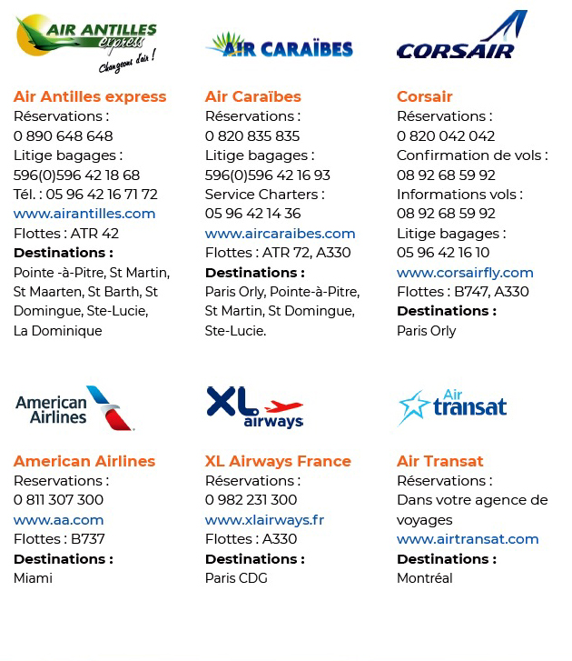 airlines to Martinique