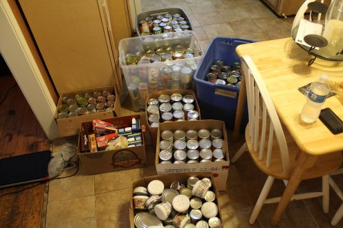All 400 cans ready to be taken to Loaves and Fishes, taken by Nate Tate