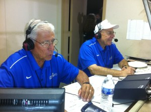 "Access Sacramento ""Game of the Week"" announcers Jim Dimino (left) and Will James at Inderkum High School last season."