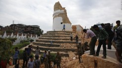 Nepal's historic landmarks Dharahara after the quake. © cnn