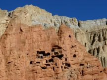 Cliff hanging caves of upper mustang