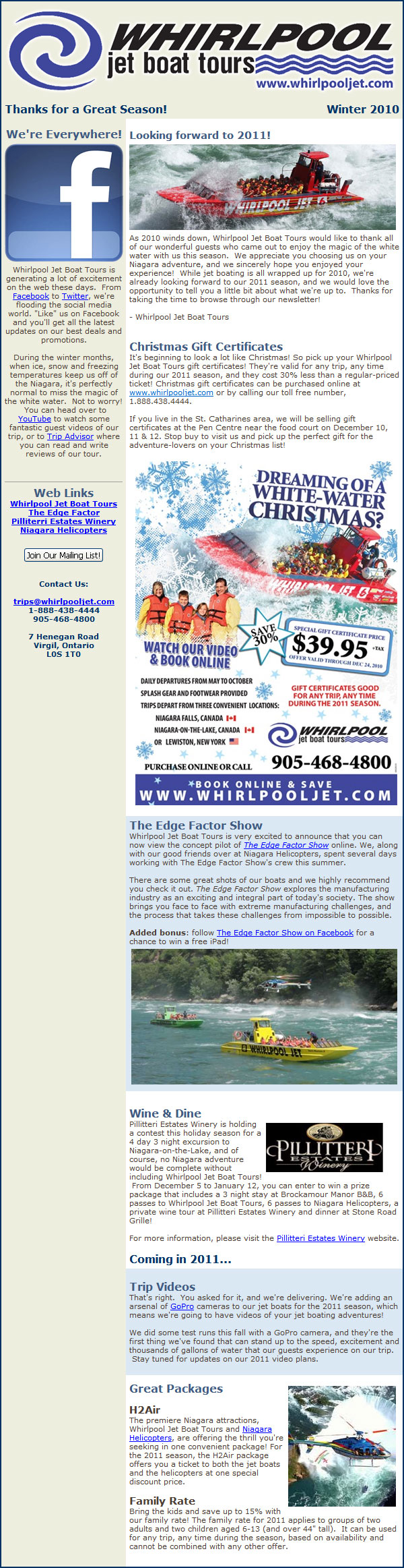 Discount coupons for whirlpool jet boat tours