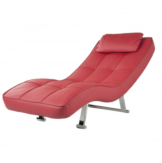 Red Leather Chaise Lounger