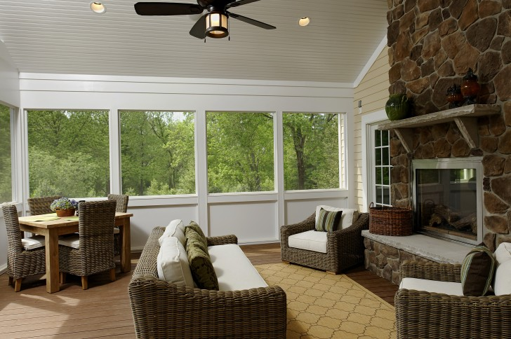 Permalink to Houzz Screened Porch With Fireplace