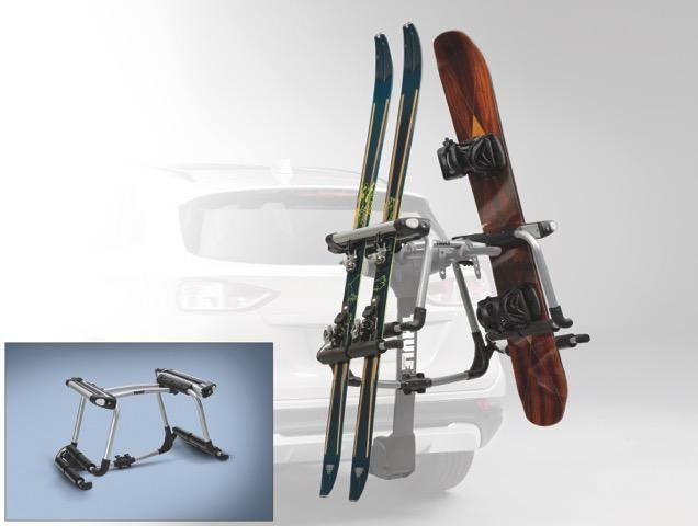 racks and carriers by thule ski carrier adapter converts 2 4 bike hitch mounted racks to a ski snowboard carrier