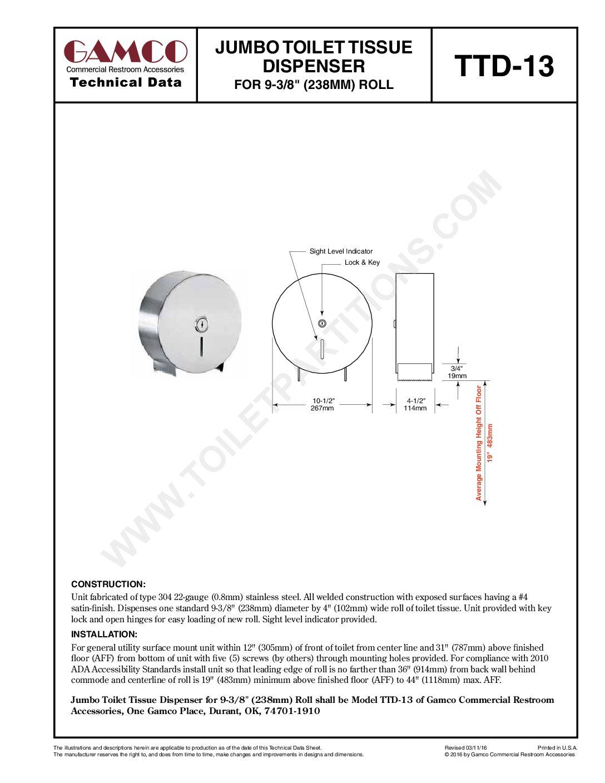 Toilet Paper Holder Mounting Height : toilet, paper, holder, mounting, height, Gamco, Jumbo, Toilet, Tissue, Dispenser, Model, TTD-13, Washroom, Equipment, Accessories, Supply, Gopher