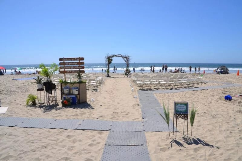Beach Wedding using Access Trax on the sand.