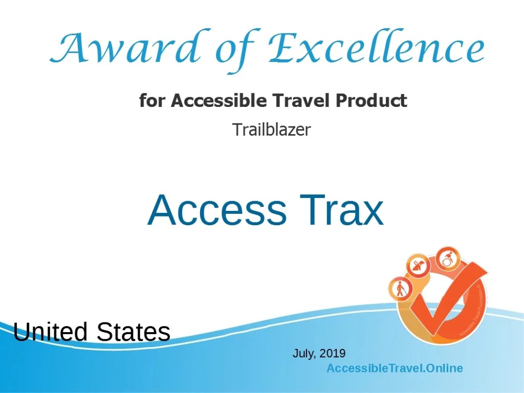 Image of Award of Excellence for Accessible Travel Product Trailblazer.