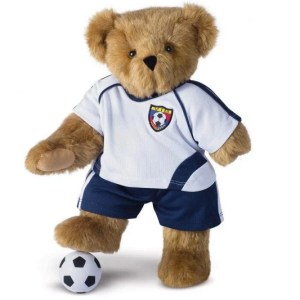 A brown teddy bear wearing a soccer outfit. His left paw is missing to show limb loss.
