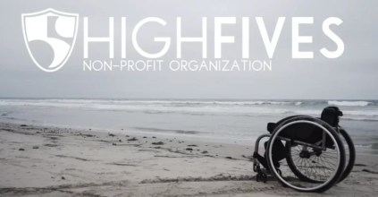 Image shows the beach with an empty wheelchair. The High Fives Foundation logo is at the top. Text below says Non-profit organization.