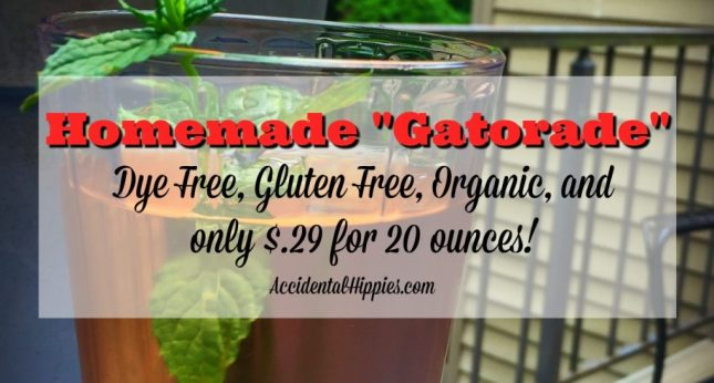 "This homemade ""gatorade"" is organic, dye free, low in sugar, and only costs $.29 to make for a 20 oz. serving! Click for options, mix-ins, and the gallon sized version!"