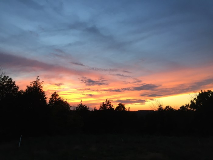 Gorgeous sunset at our off-grid property