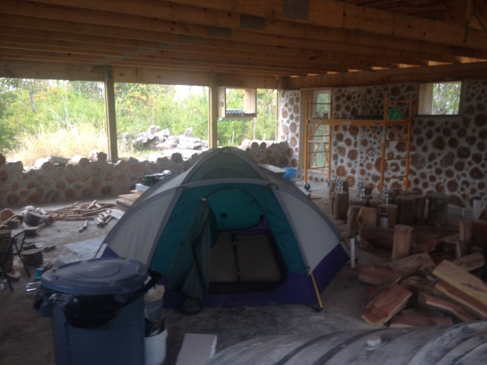 We camped in our house for the night!