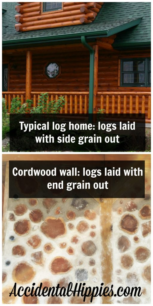 "The difference between a standard ""log home"" and a ""cordwood masonry"" home"