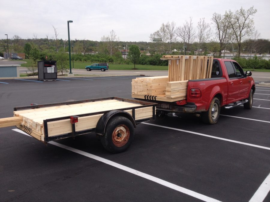 The truck all loaded up with our interior framing members. See how it turned out!
