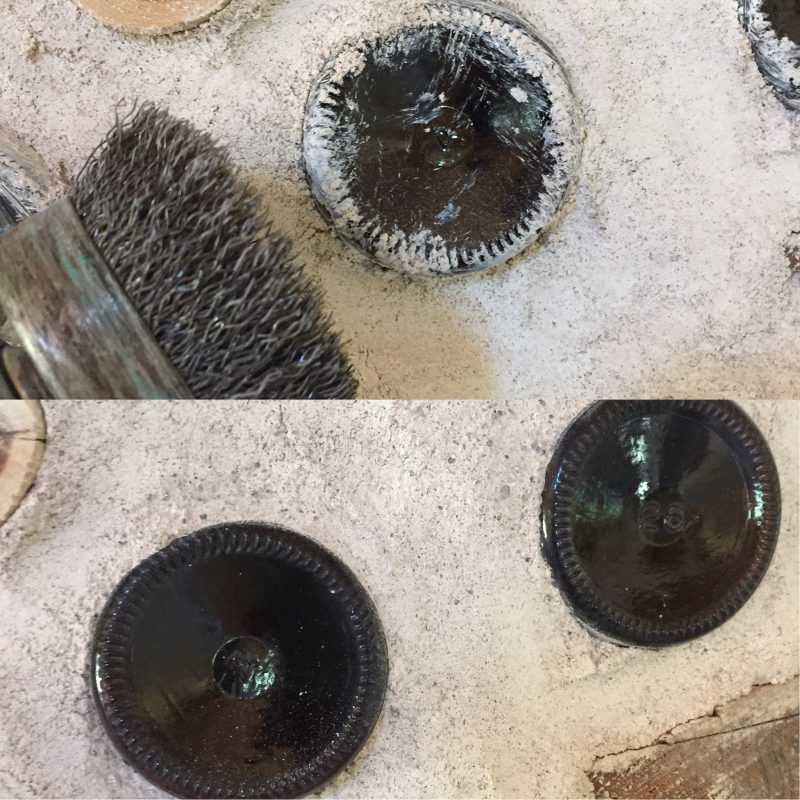 You can scrub excess mortar off a bottle brick with a wire brush attachment on a drill without scratching the glass! Find out how in this post.