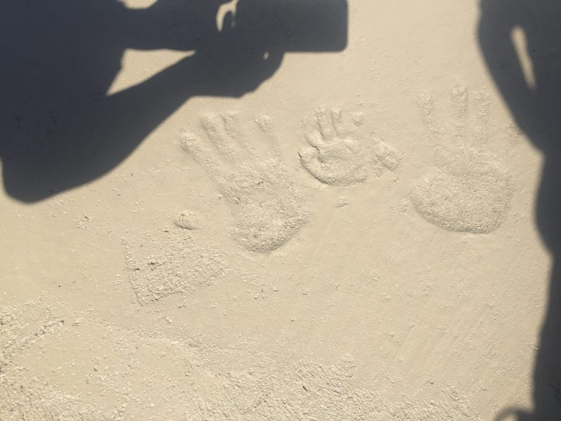Handprints in our concrete slab. A fun way to remember how our family built our home together!