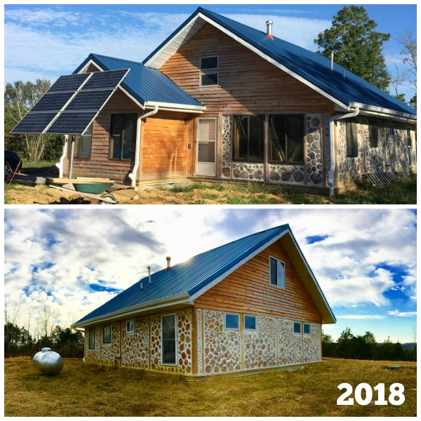Our off grid cordwood house is powered by solar panels with rainwater catchment. Check out the blog to learn more about what off grid living is really like.