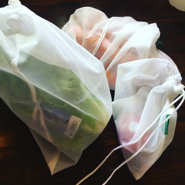 Reusable produce bags are a great way to eliminate single use plastic produce bags at the grocery store. Learn about other great ways to easily reduce your plastic waste without sacrificing or feeling weird about it. #reusable #reduceplasticwaste