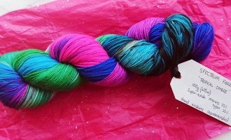 brightly coloured hand dyed yarn