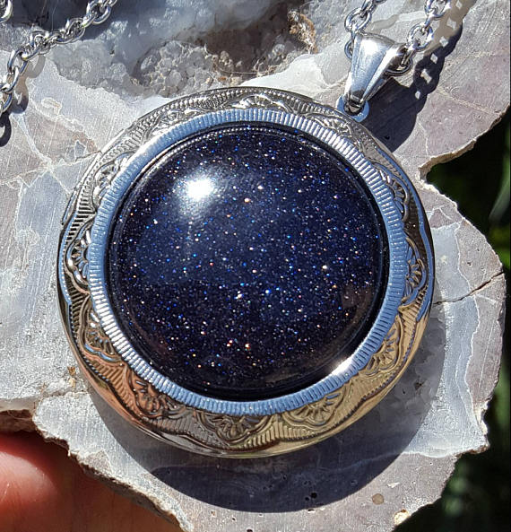 blue golstone locket turn ashes into jewellery