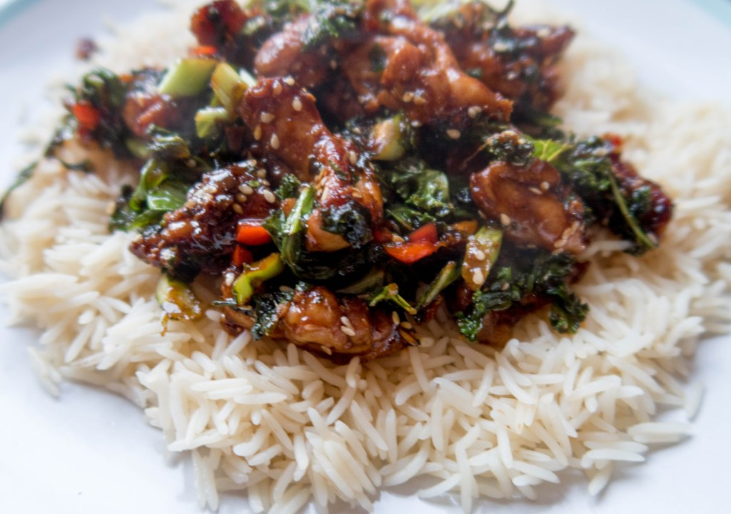 Finished meal Gousto Sticky Chicken with soy sesame and chilli