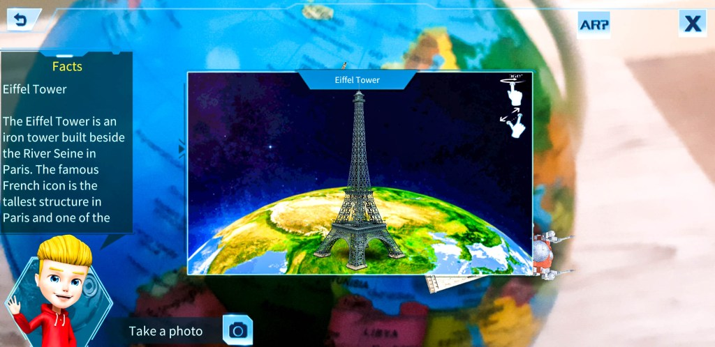 information on the Eiffel tower withing the AR app