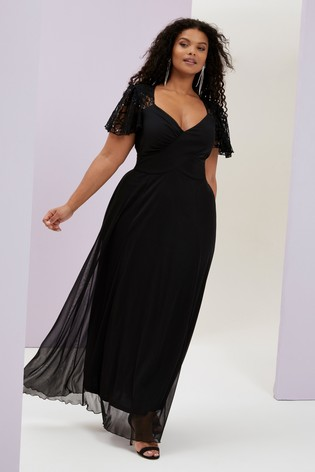 Scarlett and Jo black plus size maxi dress plus size wedding guest outfits