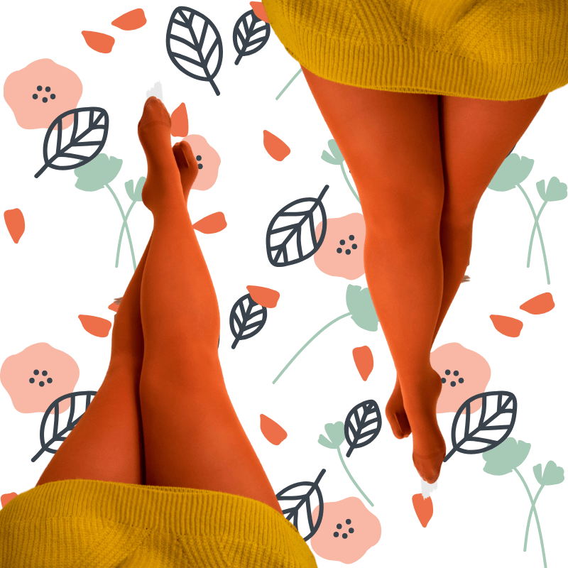 Pumpkin Spice colour snag tights with a leafy floral illustrated background