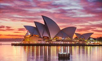 Sydney Opera House as sunset
